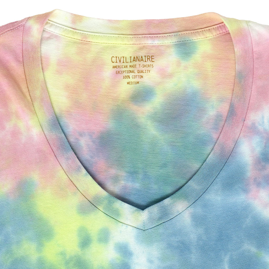 Short Sleeve V-Neck Tee - Tie Dye BLUE-YELLOW-PINK