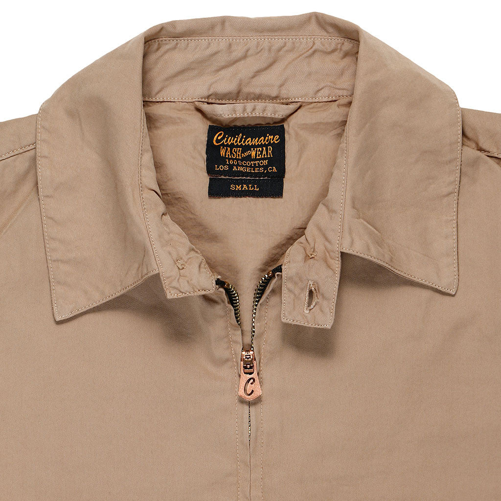 Zip Front Cotton Sateen Cliff Jacket - Soft Khaki