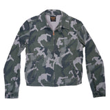 Zip Front Cotton Sateen Print Cliff Jacket - Camo Drab