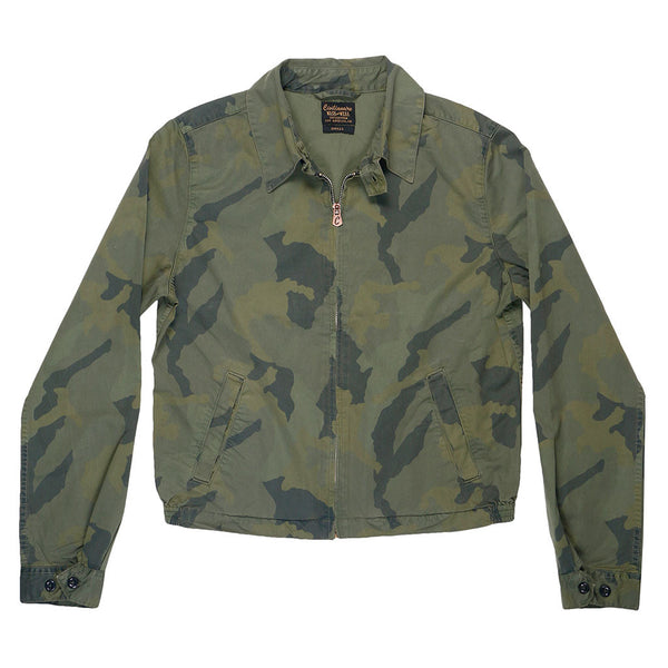 Zip Front Cotton Sateen Print Cliff Jacket - Camo Olive