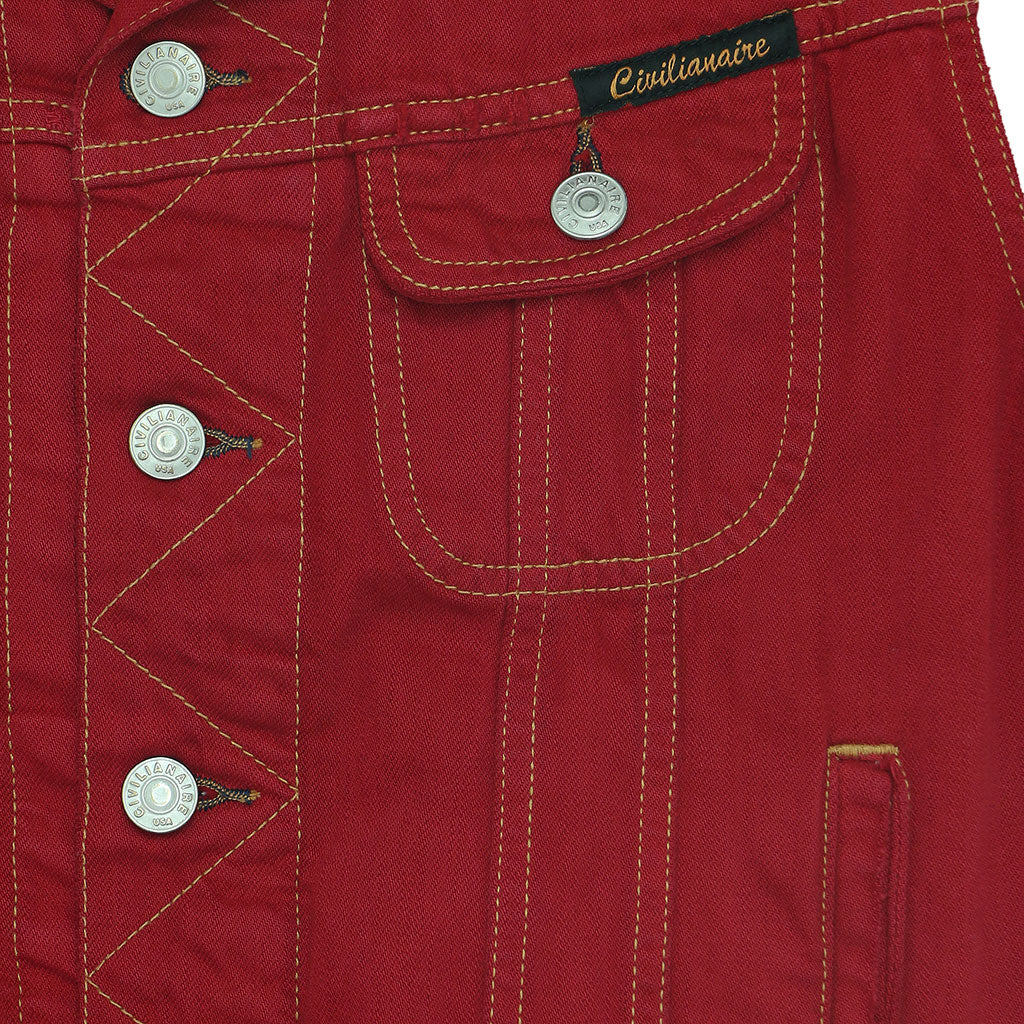 Pocket 12.4 oz Denim Ryder Vest - Red Macon Wash