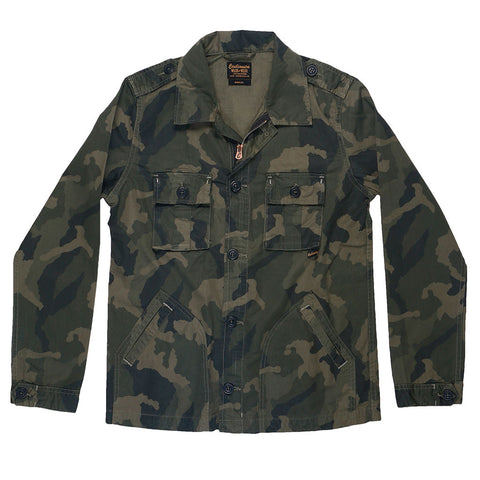 4-Pocket Cotton Sateen Print Peace Jacket - Camo Dark Celadon