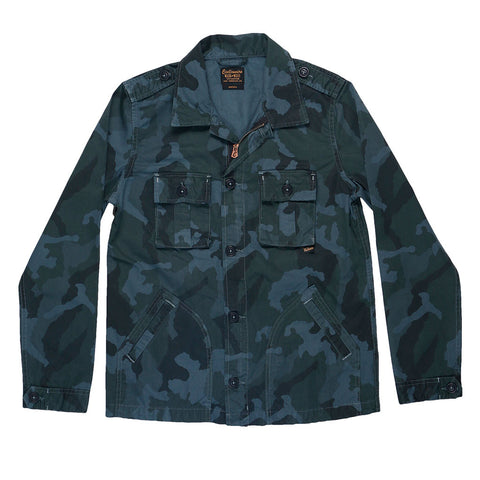 4-Pocket Cotton Sateen Print Peace Jacket - Camo Blue Grey