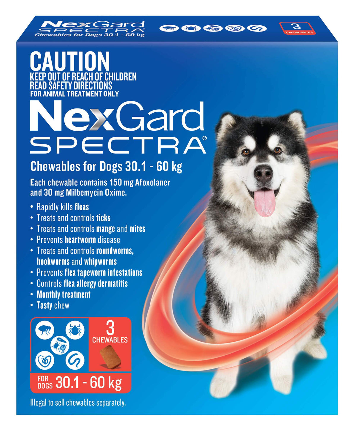 NexGard Spectra Chews for Extra Large Dogs 30.1-60kg