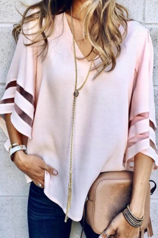 V Neck Plain Bell Sleeve Blouse