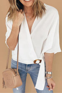 V-Neck Half Sleeves Crossed T-Shirt