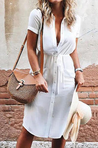 Single-Breasted Belt Sexy Shirt Dress