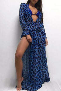 Sexy Deep V Neck Long Sleeve Printed Slit Maxi Dress