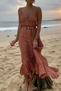 Orange Front Buckle Polka-Dot Maxi Dress