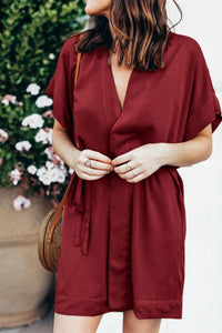 Deep V Neck Belt Plain Short Sleeve Casual Dresses
