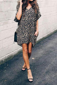V Neck Loose Leopard Printed Short Sleeve Casual Dresses