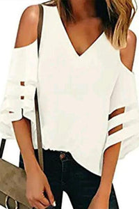 V-Neck Strapless Shoulder Patchwork T-Shirt