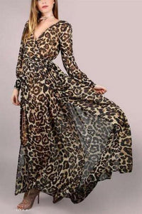 A Leopard Swagger Long-Sleeved Belt Maxi Dress