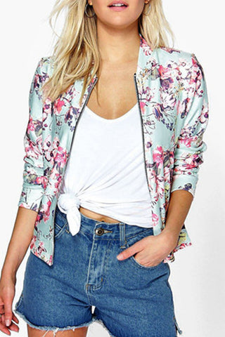 Snap Front Zipper Floral Printed Jacket