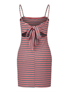 Spaghetti Strap Striped Bodycon Dresses