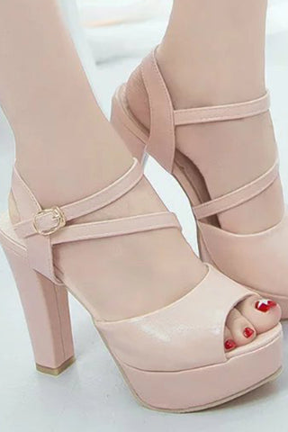 Plain High Heeled Ankle Strap Peep Toe Date Office Platform Heels
