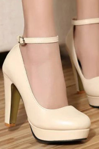 Plain Stiletto High Heeled Round Toe Casual Date Platform Heels
