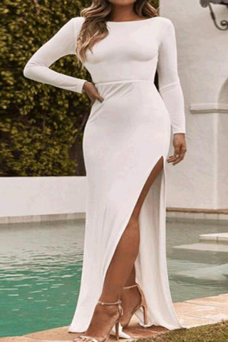Sexy Fashion Backless Long Sleeves Fork Plain Slim Maxi Dress