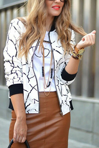 Abstract Print Autumn Casual Jacket