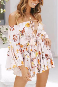 Sexy Floral Deep V Collar Off Shoulder Ruffled Romper