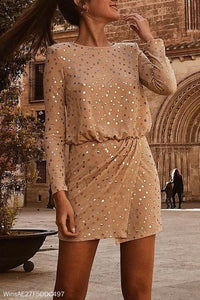 Sexy Sequin Long Sleeve Bodycon Dress Mini Dress