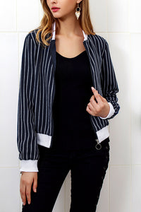 Band  Collar  Patchwork  Striped Jackets