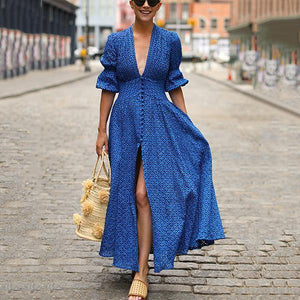 2019 Deep V-Neck Half Sleeve Split Maxi Dress