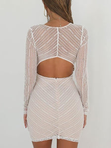 Deep V-Neck Cutout Decorative Lace Patchwork See-Through Crochet Plain Striped Bodycon Dresses
