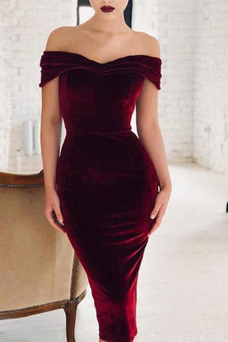 Sexy Pure Colour Boat Neck Velvet Bodycon Dresses