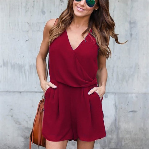 Fashion Pure Color V Collar Chiffon Romper