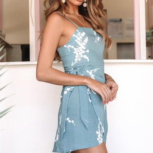 Sexy Off-The-Shoulder Print Sling Irregular Dress Lace Bodycon Dress