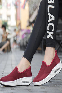 Plain Low Heeled Round Toe Casual Sneakers