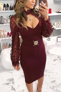 Sexy Hollow Out Splicing Sequins Bodycon Dresses