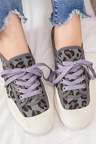 Animal Printed Flat Round Toe Casual Sneakers