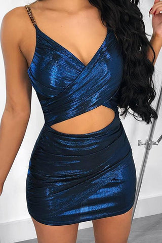Fashion Metal Sling Sequins Splicing Bodycon Dresses