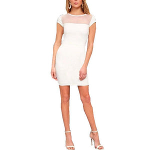 Round Neck Short Sleeve Mesh Patchwork Bodycon Dresses