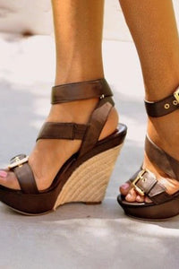 Plain Peep Toe Casual Date Wedge Sandals