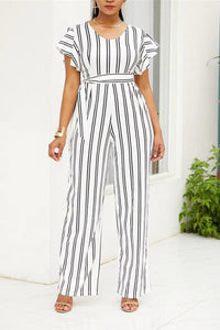 Fashion Black-And-White Stripe Printing Jumpsuits