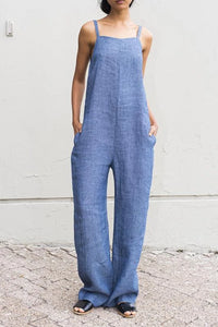 Casual Broad Leg Pure Colour Sling Sleeveless Jumpsuits