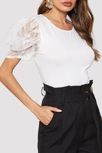 Round Neck  Decorative Lace  Plain T-Shirts