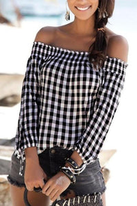 Off Shoulder  Gingham T-Shirts
