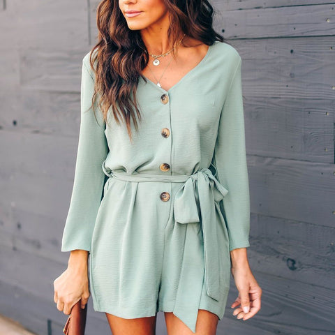 2019 V-Neck Solid Color Long Sleeve Button Down Playsuit