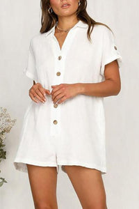 Hot Shirt Button Cotton And Linen Romper
