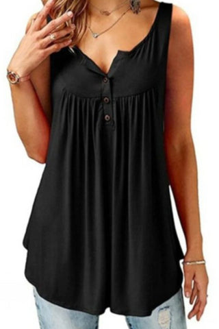 Solid Color Button Pleated Sleeveless Casual Blouses