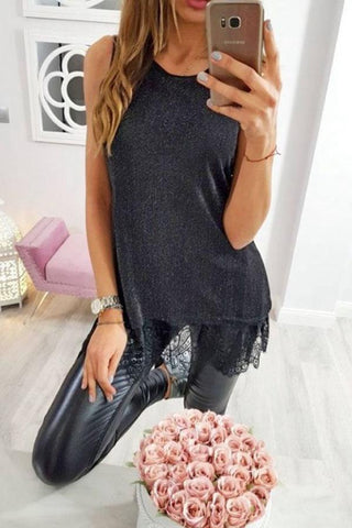 Round Neck  Lace Plain Camis