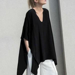 Casual V Neck Batwing Sleeve Pure Colour T-Shirt