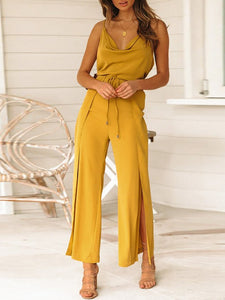 Commuting V Neck Belted Wide-Leg Slit Jumpsuits