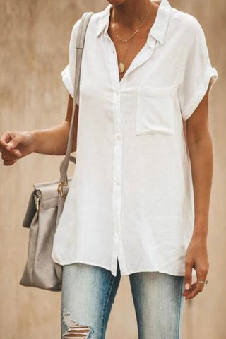 Daily Solid Color Flare Sleeve Pocket Casual Loose Blouse