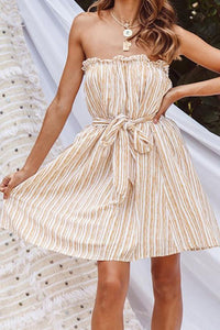 Strapless Backless Striped Sleeveless Skater Dresses