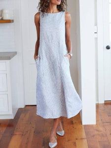 Linen Round Neck  Striped Maxi Dress